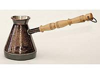 Кофейная турка 230мл TUR1, Медная кофейная турка с узором Павлин, Турка медная, турка для кофе