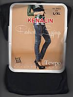 Лосины-джеггинсы женские на меху Kenalin 9401, с 1 швом, карманы сзади, размер L-XL, чёрные