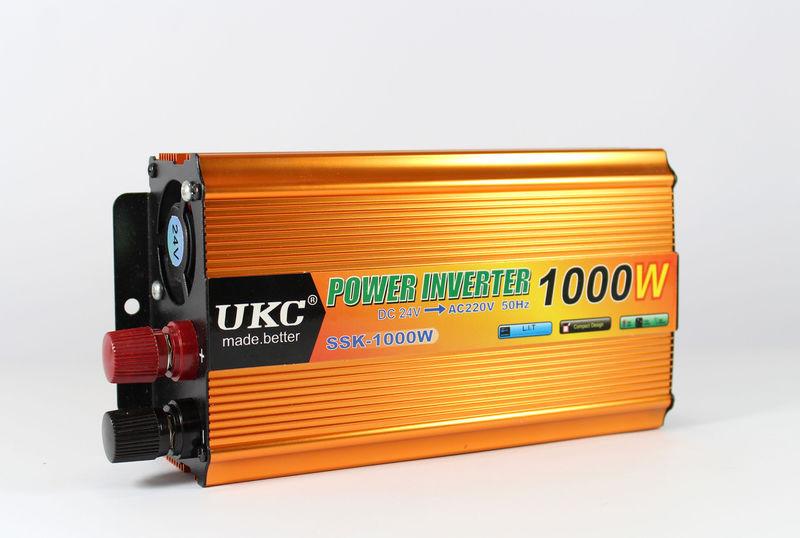 Інвертор перетворювач 24V-220V,UKC 1000W +USB