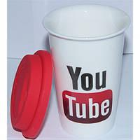 Кружка керамическая с силиконовой крышкой с поилкой You Tube