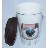 Кружка керамическая с силиконовой крышкой с поилкой Instagram