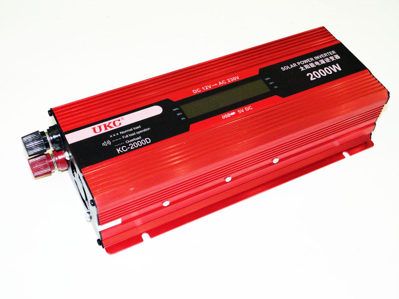 Перетворювач струму AC/DC UKC 2000W KC-2000D з LCD дисплеєм