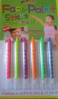 Грим-карандаши неоновые 6 цветов