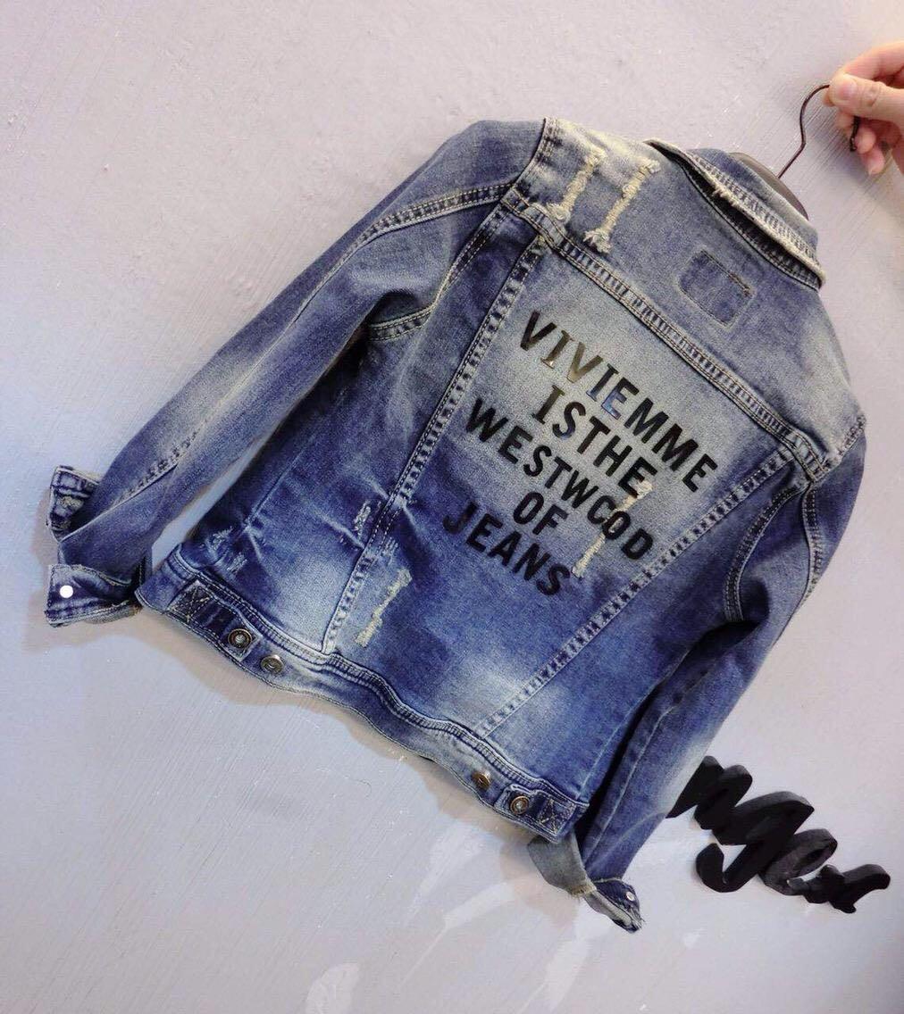 Женская джинсовая курточка   с надписью на спине