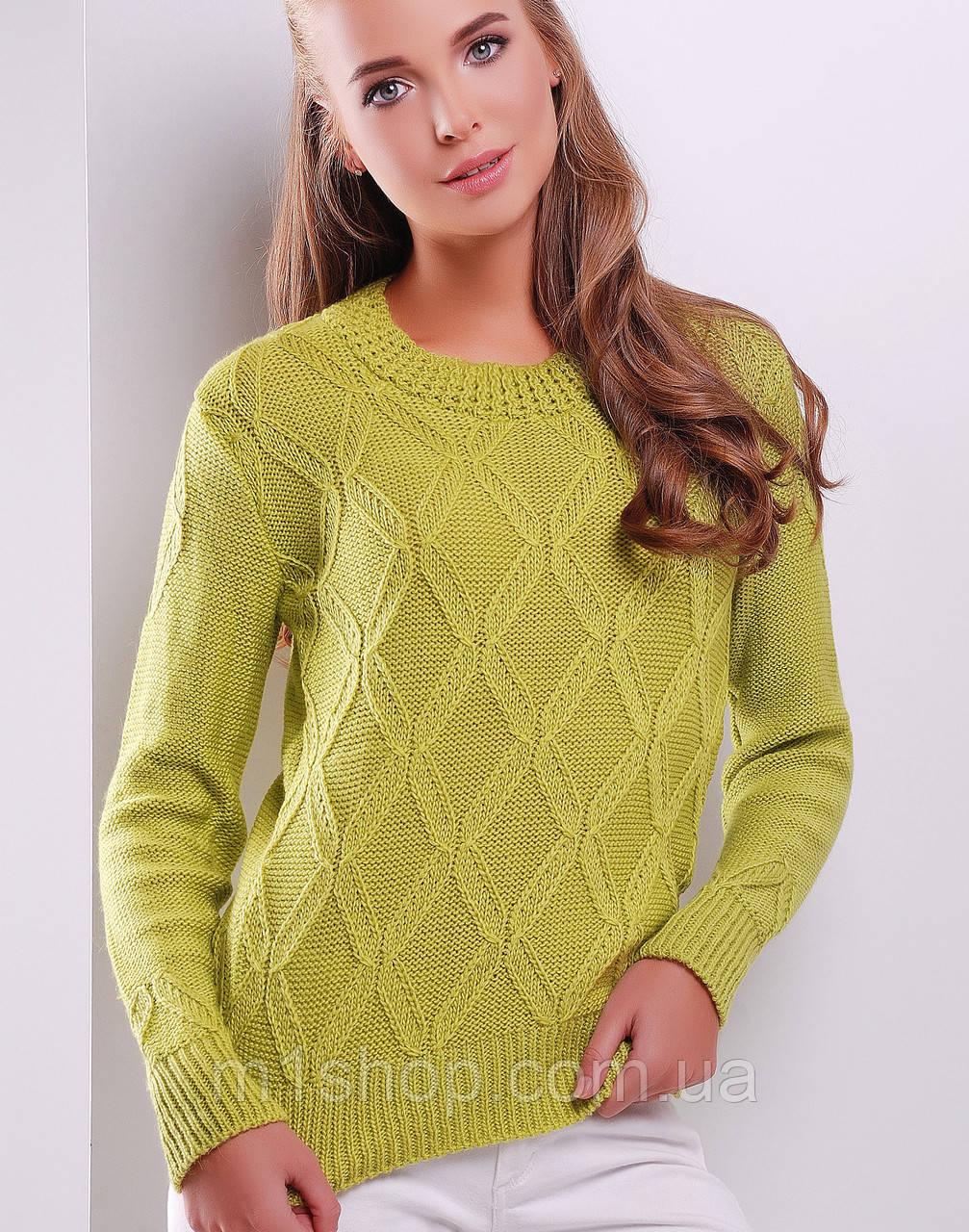 Женский вязаный свитер с фигурными ромбами (17 mrs)