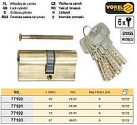 Серцевина замка ассиметрическая латунь l= 87 мм 36/51 мм 6 ключів VOREL-77193