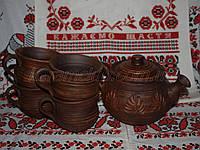 Керамический набор заварник и чашки