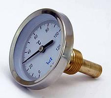 Термометр стрелочный биметаллический ТБ 63/50 на 120°С, пружинный, осевой, G1/2