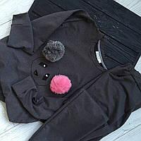 Костюм черного цвета с меховыми помпонами мишка
