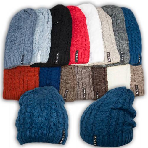 Вязаная шапка с удлиненным верхом для девочек, подкладка флис, код. V214