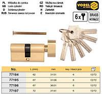 Сердцевина замка латунь l= 62 мм 31/31 мм 6 ключей VOREL-77194