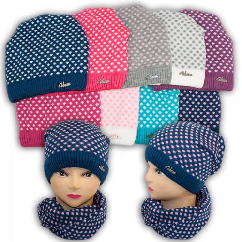 Шапка и шарф (хомут) для девочек, подкладка флис, код. V245