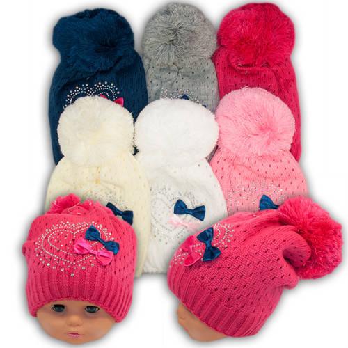 Вязаная шапка с помпоном для девочек, подкладка флис, код. V234
