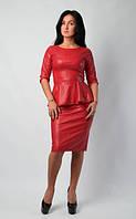 Эффектный женский костюм из эко-кожи, размеры 44,46