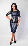 Модный женский костюм из эко-кожи с юбкой карандаш, 44,46 размеры