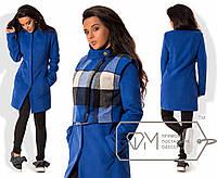 Стильное женское пальто+жилет