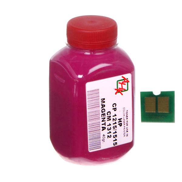 Тонер+чип АНК для HP CLJ CP1215/CP1515/CM1312 ( тонер АНК, чип АНК) бутль 40г Magenta (1500150)