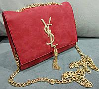 Женский клатч yves saint laurent красный на цепочке эко-кожа