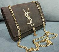 Женский клатч yves saint laurent коричневый на цепочке эко-кожа