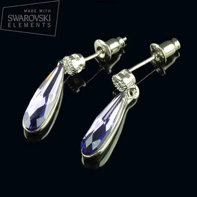 012-0016 - Необыкновенные серьги-гвоздики родий с кристаллом Swarovski Raindrop Fancy Tanzanite