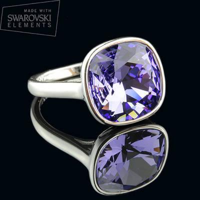 011-0005 - Кольцо с кристаллом Swarovski Cushion Square Crystal Tanzanite родий, 16.5, 17 р.