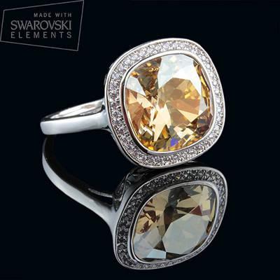 011-0011 - Элегантное кольцо с кристаллом Swarovski Cushion Square Crystal Jonquil родий 19 р
