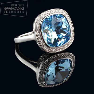 011-0012 - Элегантное кольцо со Swarovski Cushion Square Crystal Aquamarine родий, 18, 19 р