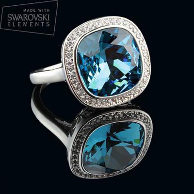 011-0013 - Элегантное кольцо с Swarovski Cushion Square Crystal Indicolite родий, 17, 17.5, 19 р