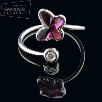 011-0020 - Нежное кольцо с кристаллом Swarovski Butterfly Crystal Amethyst родий, размер 18-19