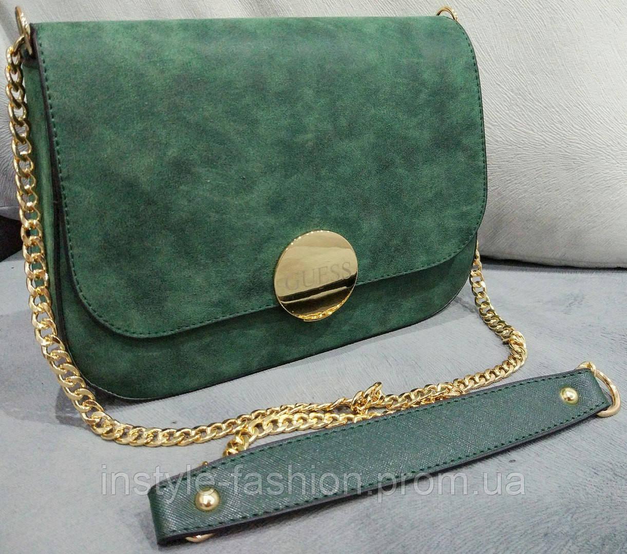 0dad9c65b391 Женский клатч Guess Гесс на цепочке зеленый - Сумки брендовые, кошельки,  очки, женская