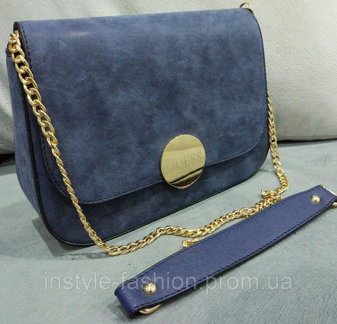 Женский клатч Guess Гесс на цепочке синий, клатч брендовый, сумка брендовая  копия 9eaa345a7be