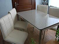 """Комплект стол и стулья для кухни """"Прямоугольники"""" и кремовые стулья (Лотос-М)"""