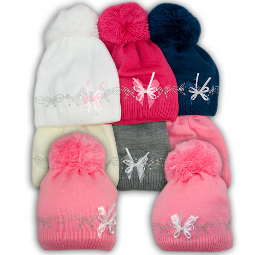 Вязаная шапка с помпоном для девочек, подкладка флис, код. V272
