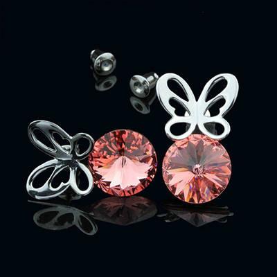 012-0033 - Серьги с кристаллами Swarovski Rivoli Padparadscha родий