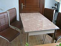 """Комплект стол и стулья для кухни """"Камень"""" и коричневые стулья (Лотос-М)"""