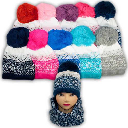 Шапка и шарф (хомут) для девочек, подкладка флис, код. V259