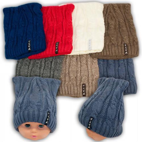 Вязаная шапка с ушками для девочек, подкладка флис, код. V240