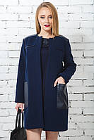 Жіноче кашемірове пальто шкіряні кишені