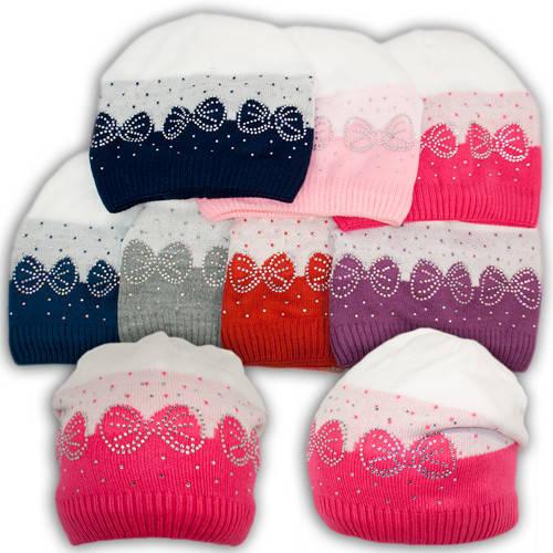 Вязаная шапка для девочек, подкладка флис, код. V261
