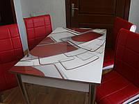 """Комплект стол и стулья для кухни """"Красные прямоугольники"""" (Лотос-М)"""