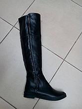 Ботфорты кожаные демисезонные на низком ходу  LEXI