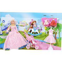 Кукла DEFA Lucy 6074: наряды, дочка, коляска, лошадка-качалка, 3 вида, коробка 53х32х6 см