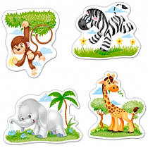 """Пазлы 4 в 1 на 3,4,6,9 элементов. """"Африканские животные""""."""