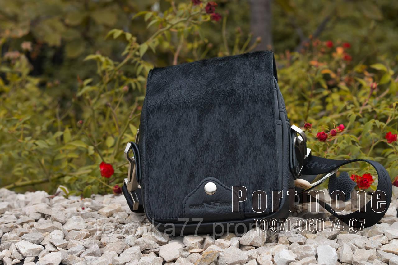 5ba746bd742e Мужская кожаная сумка Giorgio Armani черная - Интернет-магазин