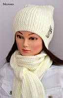 Теплая зимняя шапка Кошка, молочного цвета (52 размер), фото 1