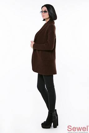 Женский коричневый кардиган пряжа (р. УН) арт. XW358, фото 2