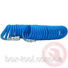Шланг спиральный полиуретановый 6,5 х 10 мм, 20 м с быстроразъемными соединениями INTERTOOL PT-1713