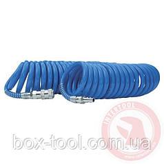 Шланг спиральный полиуретановый 8*12 мм, 5м с быстроразъемными соединениями INTERTOOL PT-1715
