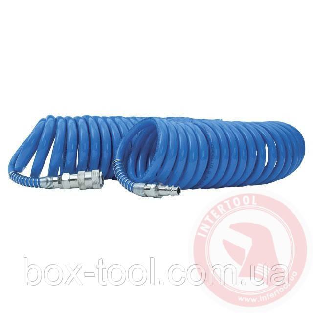 Шланг спиральный полиуретановый 8*12 мм, 20м с быстроразъемными соединениями INTERTOOL PT-1718