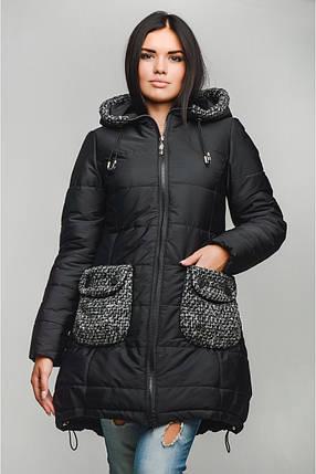 Женская стильная зимняя куртка р. 40-48 арт. Карман, фото 2